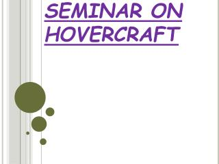 SEMINAR ON HOVERCRAFT