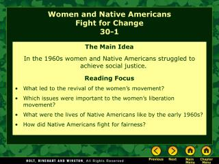Women and Native Americans  Fight for Change 30-1