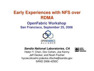 Early Experiences with NFS over RDMA