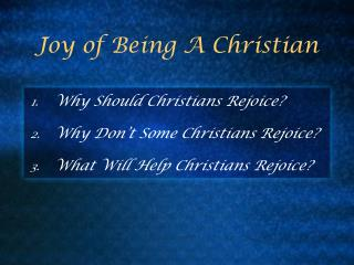 Joy of Being A Christian