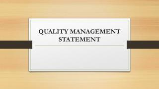 QUALITY MANAGEMENT STATEMENT
