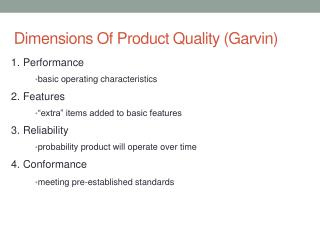 Dimensions Of Product Quality (Garvin)