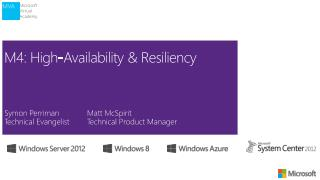 M4: High-Availability  & Resiliency