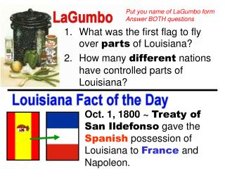 What was the first flag to fly over  parts  of Louisiana?