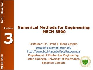 Numerical Methods for Engineering  MECN 3500