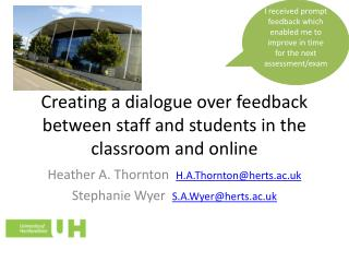 Creating a dialogue over feedback between staff and students in the classroom and online