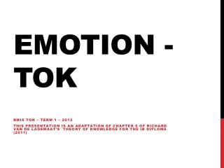 EMOTION - TOK