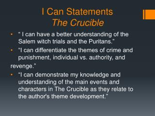 I Can Statements The Crucible