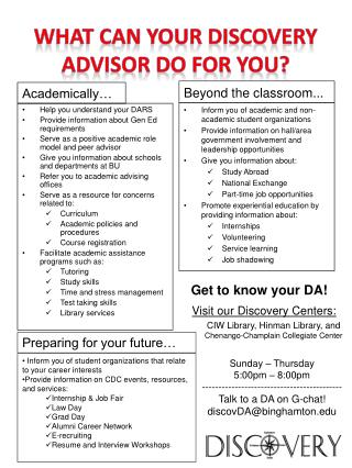 What can your Discovery Advisor do for you?