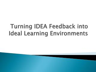 Turning IDEA Feedback into Ideal Learning Environments
