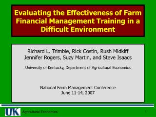 Evaluating the Effectiveness of Farm Financial Management Training in a Difficult Environment
