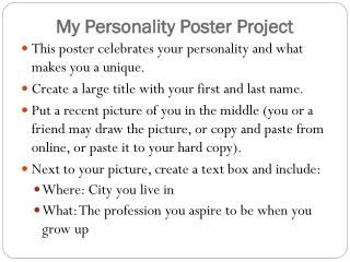 My Personality Poster Project