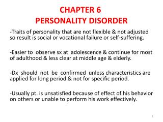 CHAPTER 6 PERSONALITY DISORDER