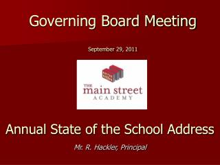 Governing Board Meeting September 29, 2011