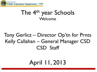 The 4 th  year Schools  Welcome Tony Gerlicz – Director  Op'tn  for  Prnts