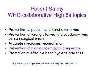 Patient Safety WHO collaborative High 5s topics