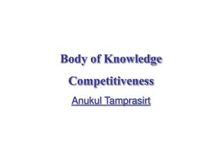 Body of Knowledge Competitiveness