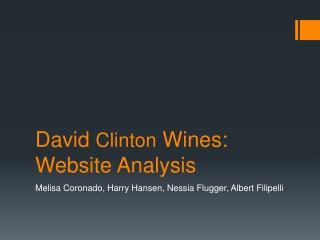 David  Clinton  Wines: Website Analysis