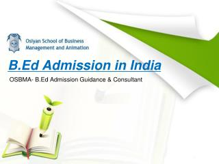 B.Ed Admission Consultant & Institute in India-osbma