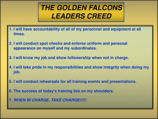 THE GOLDEN FALCONS LEADERS CREED
