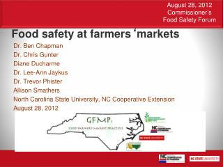 Food safety at farmers ' markets