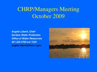 CHRP/Managers Meeting October 2009