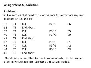Assignment 4 - Solution Problem 1