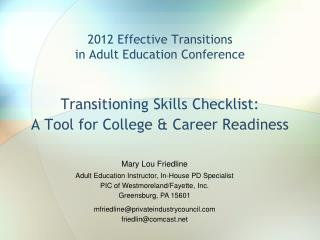 2012 Effective Transitions in Adult Education Conference