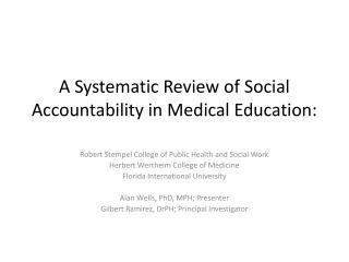 A Systematic Review of Social Accountability in Medical Education: