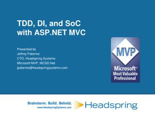 TDD, DI, and  SoC with  ASP.NET MVC