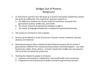 Bridges Out of Poverty Background