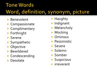 Tone Words Word, definition, synonym, picture