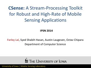 CSense :  A Stream-Processing Toolkit for Robust and High-Rate of Mobile Sensing Applications