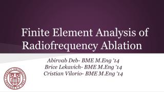 Finite Element Analysis of Radiofrequency Ablation