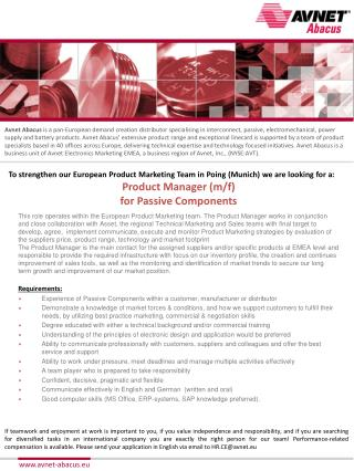 To strengthen our European Product Marketing Team in  Poing  (Munich) we are looking for a: