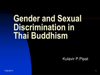 Gender and Sexual Discrimination in Thai Buddhism