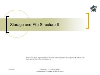 Storage and File Structure II