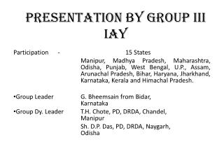 Presentation by Group III   IAY