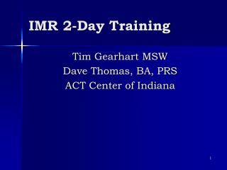 IMR 2-Day Training