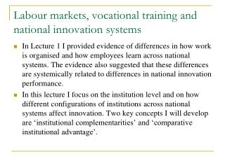 Labour markets, vocational training and national innovation systems
