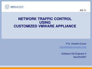 NETWORK TRAFFIC CONTROL  USING  CUSTOMIZED VMWARE APPLIANCE