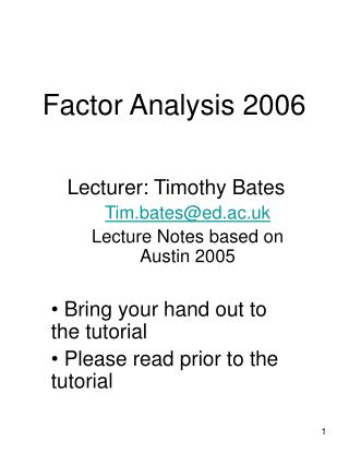 Factor Analysis 2006