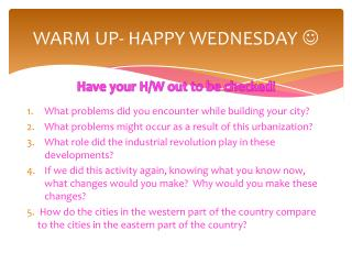 WARM UP- HAPPY WEDNESDAY  