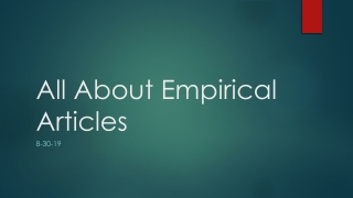 All About Empirical Articles