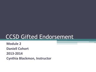 CCSD Gifted Endorsement