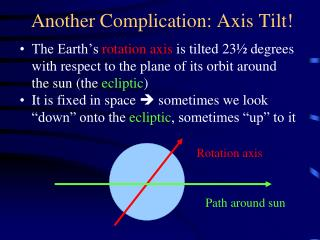 Another Complication: Axis Tilt!