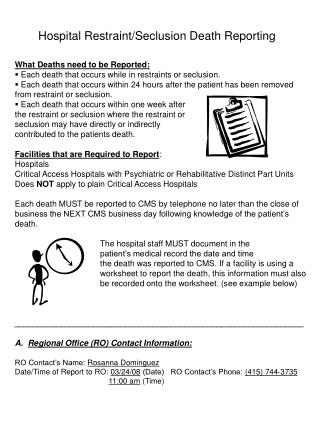 Hospital Restraint/Seclusion Death Reporting