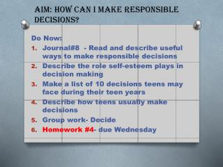 Aim: How can I make responsible decisions?