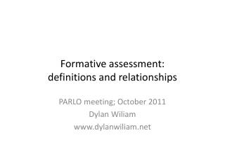 Formative assessment: definitions and relationships