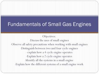Fundamentals of Small Gas Engines